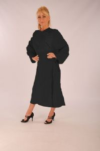 Full Length Salon gown - Velcro - Black - Microfibre